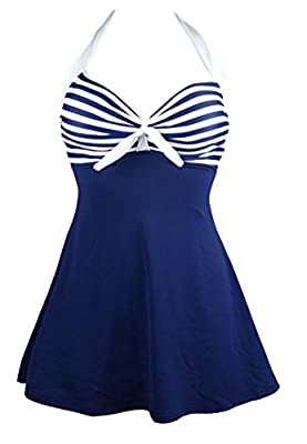 Sizes(recommend):Small:US6 Medium:US8 Large:US10 X-Large:US12 XX-Large:US14 XXX-Large:US16 4XL:US18 5XL:US20 6XL:US22 Hand Wash Cold/Flat Dry Adjustable halter neck;Halter straps Pattern:Vintage Sailor Pin Up One Piece Skirtini Cover Up Skirted Swimd...