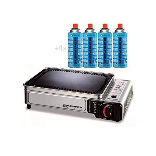 Barbecue a gas portatile 2.8 KW con griglia antiaderente + 4 cartucce gas da campeggio