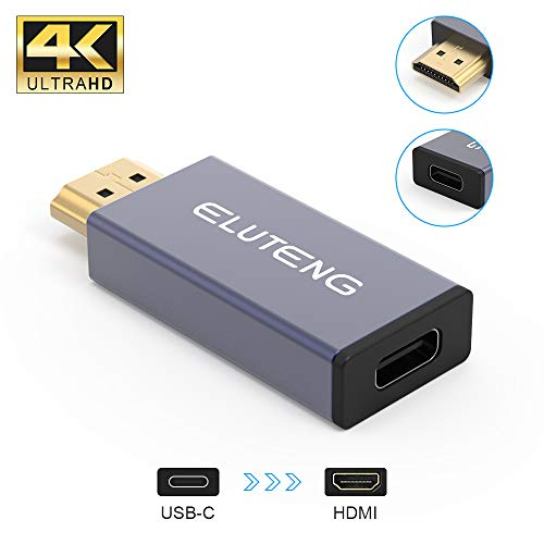 Female USB C to HDMI Male, ELUTENG USB Type C to HDMI Adapter (Thunderbolt 3 Compatible) 4K 60Hz Type C 3.1 Input to HDMI Output Adapter Support Audio and Video Transmission