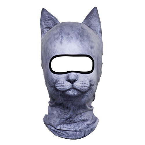 AXBXCX 3D Animal Ears Fleece Thermal Neck Warmer Windproof Hood Cover Face Mask Protection for Ski Snowboard Snowmobile Halloween Winter Cold Weather Cat MDD-19