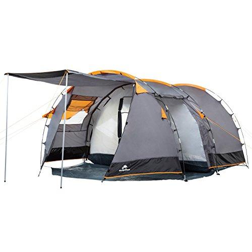 CampFeuer Tente Tunnel pour 4 Personnes Super+   Grande Tente familiale avec 2 entrées et 3.000 mm de Colonne d'eau   Tente de Groupe (Gris-Noir/Orange)