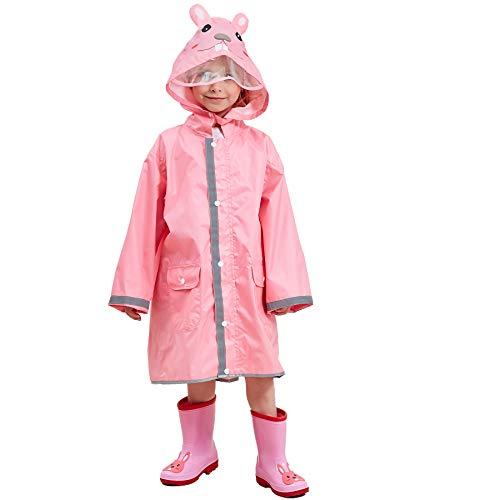 Bwiv Impermeabile Bambina Poncho Pioggia Bambino Mantella Antipioggia Bimbo con Striscia Riflettente...