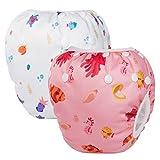 HBselect 2 PCS Bébé Maillot de Bain Lavable Couche de Bain Ajustable Couches réutilisables de bébé de couches de pantalon de bain couches imperméables de natation 0-24 Moins Bébé Fille