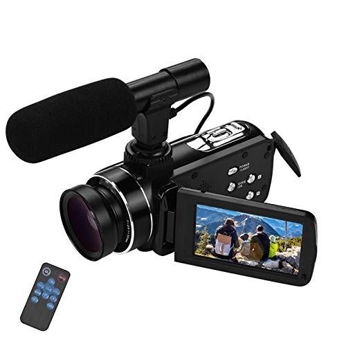 Video camera HD, Andoer 4K Ultra HD Palmare DV Videocamera professionale, 18X Digital Zoom Camera, 3.0' LCD, con Obiettivo Grandangolare 0.45X e Microfono