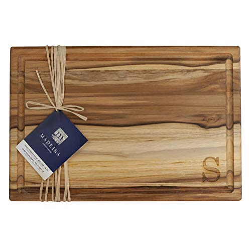 Madeira 1022MS Teak Edge-Grain Cutting and Carving Board, 18 x 12-inches, Engraved S