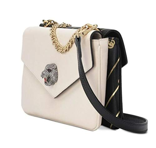 41G Nqwm1QL Gucci Gucci Lion Tiger Black White Cream Two Side Gold Handbag Purse Bag New ItalyThiara Medium shoulder chain leather double bagDimensions: Width: 27cm, Height: 16cm, Depth: 8cm, Strap: 55cm100% Leather, 100% ViscoseMade in ItalyDesigner Model Number: 5248220PLPXDesigner Colour: 8419Thiara Medium Double Envelope Shoulder Bag in 8419 BlackGrained leather twin-compartment shoulder bag in black and off-white. Chain-link carry handle at top. Adjustable and detachable leather shoulder strap with lanyard-clasp fastening. Logo plaque and printed logo pattern in gold-tone at striped face. Hardware with Swarovski crystal detailing at back face. Foldover flap with magnetic press-stud fastening at twin compartments. Zippered pocket and patch pocket at fully-lined interiors. Gold-tone and silver-tone hardware. Tonal stitching. Approx. 10.5 length x 6 height x 3 width. Made in italy. Authentic. NEW w dustbag