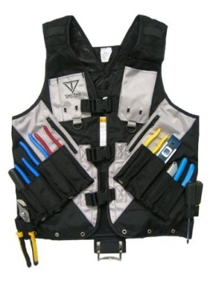 Black Visibility Tool Vest with Built in Hydration Pouch - Electricians, Surveyors, Construction (Black) - (Large - XXX-Large)