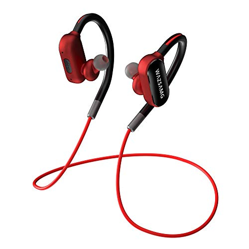 WAZSAMG Bluetooth Wireless Earphones with 8 Hours Play Time Waterproof Workout Earbuds in- Ear Headphones for Running, Workouts, Excercise, Gym (RED)