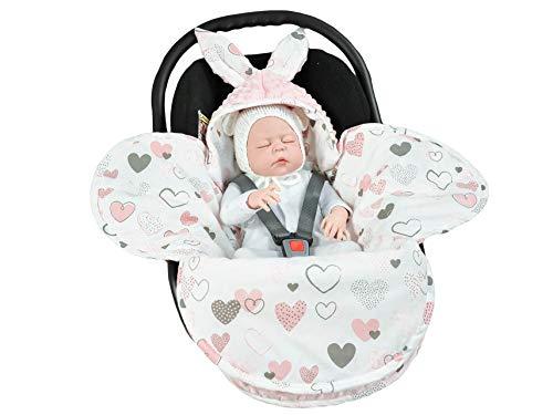 EliMeli Baby Einschlagdecke, Universal für Babyschale, Autositz, Kinderwagen Buggys und Babybett, Sehr Hohe Qualität, Minky Decke (Pink - Hearts)