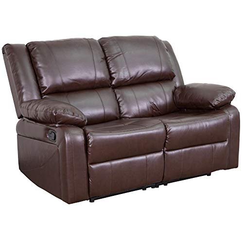 Flash Furniture Harmony Series Brown Leather Loveseat with Two...