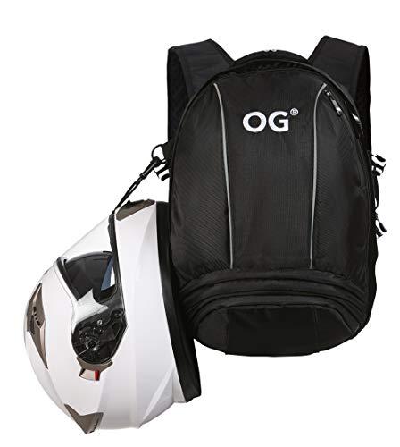 OG Online&Go EZ-Rider Mochila Moto Negra 25L, Bolsa Porta-Cascos, Correa Casco Moto, Antirrobo, Impermeable, Portátil, Reflectante