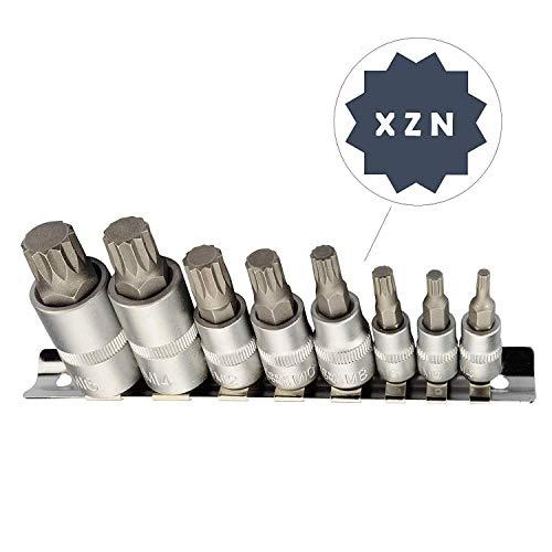 XZN Juego de llaves de vaso multidientes I M4 M5 M6 M8 M10 M12 M14 M16 I Juego de 8 pzs. de puntas múltiples