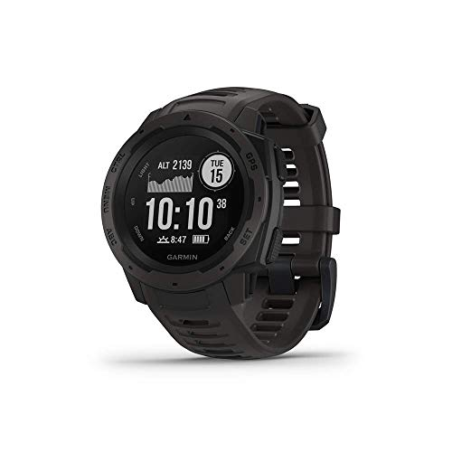 Garmin 010-02064-00 Instinct, Rugged Outdoor Watch with GPS, Features GLONASS and Galileo, Heart Rate Monitoring and 3-axis Compass, 1.27', Graphite (Renewed)