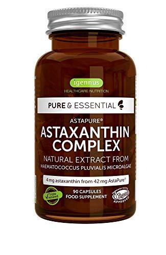 Pure & Essential hochdosierter Astaxanthin Komplex aus 42 mg AstaPure, mit Lutein und Zeaxanthin, Vegan, 90 Kapseln
