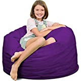ULTIMATE SACK Bean Bag Chairs in Multiple Sizes and Colors: Giant Foam-Filled Furniture - Machine Washable Covers, Double Stitched Seams, Durable Inner Liner. (3000, Purple Suede)