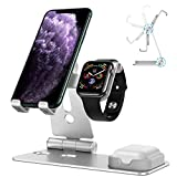 OMOTON Stand for Apple Watch - Cell Phone Stand for Airpods, [Updated Dock Version] Adjustable Charging Stand for Airpods 1/2, Apple Watch 5/4/3/2/1 and 11/11 Pro/11 Pro Max/XR/Xs/Xs Max (Silver)
