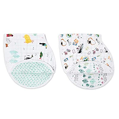 """PREMIUM QUALITY – 2 Pre-washed super soft 100% cotton muslin burpy bibs; Large and wide coverage 22.5"""" X 11"""", Lightweight and breathable, VERSATILE COVERAGE - Burping protection for you and your baby; Keeps clothes and skin dry from spills, spit-ups ..."""