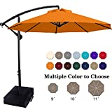 ABCCANOPY Patio Umbrellas Cantilever Umbrella Offset Hanging Umbrellas 10 FT Outdoor Market Umbrella with Crank & Cross Base for Garden, Deck, Backyard, Pool and Beach, 12+ Colors,(Orange)