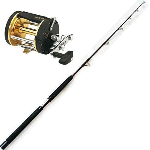 Canna da Pesca traina 50-80 Libre tonno ricciola dentice + Mulinello Rotante