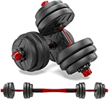 shanchar Adjustable Dumbbells Set,Free Weights Dumbbells Set for Men and Women with Connecting Rod Can Be Used As Barbell for Exercise Training Home Workout, 66LBS