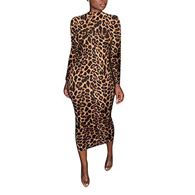 Sexy dress with soft fabric, crafted with comfort, breathable and skin-friendly. Women's High Neck Long Sleeve Leopard Print Basic Tunic Bodycon Long Maxi Pencil Dress Features: long sleeve, leopard, zebra, letter, animal print dress, bodycon slim fi...