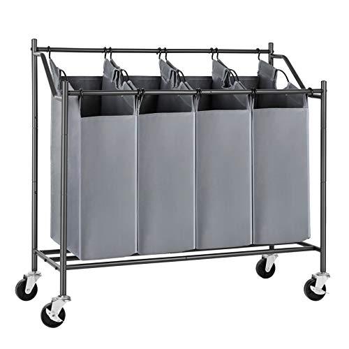 SONGMICS Wäschesortierer, 4 Taschen, Grau