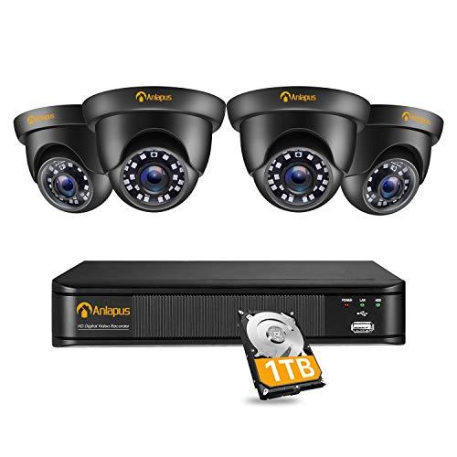 Anlapus 1080P Kit Videosorveglianza, 8CH H.265+ Registratore DVR con 4 Fotocamera Esterna, 1TB Disco Rigido, IR Visione Notturna, Accesso Remoto