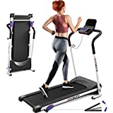 Folding Treadmill - Home Treadmill with Incline Running Machine Exercise with Monitor Motorized, Large Running Surface, 3 Incline Settings, 12 Preset Program for Training, Jogging, Walking(White)