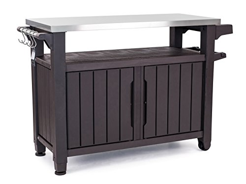 Keter Unity XL Portable Outdoor Table and Storage Cabinet with...