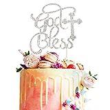 God Bless Cross Silver Crystal Metal Rhinsetone Cake Topper Baptism Christening Communion Baby Shower Birthday Wedding Party Keepsake Decorations Supplies …