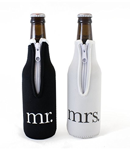 Bridal Shower Gift Mr and Mrs Wedding Beer Bottle Coolies -...