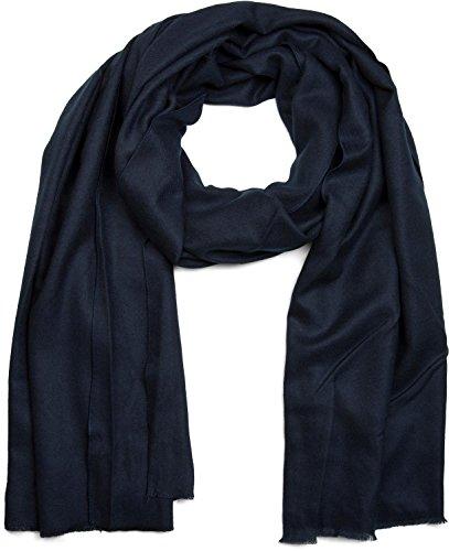 styleBREAKER weicher Stola Schal in Unifarben mit Fransen, Tuch, Unisex 01017070, Farbe:Midnight-Blue/Dunkelblau