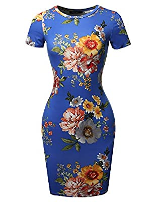 Fitted / Cap sleeves / Round neck / Printed / Body-con mini dress MACHINE WASH COLD WITH LIKE COLORS. DO NOT BLEACH. HANG DRY. Lightweight / Soft and breathable jersey fabric / Stretchable / Hits at upper tight / Made in USA **ITEM MAY RUN SMALL. PLE...