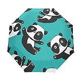 Paraguas de Viaje pequeño a Prueba de Viento al Aire Libre Lluvia Sol UV Auto Compacto 3 Pliegues Cubierta de Paraguas - patrón de Oso Panda Vector Illustartion