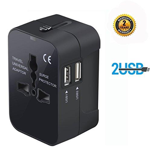 Adattatore da viaggio, in tutto il mondo Universal Power convertitori da parete adattatore di spina alimentatore caricabatterie da muro con due porte USB per cellulare USA AUS/CN EU UK (nero)