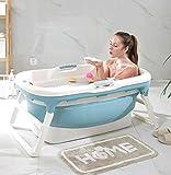 LDG Adult Folding Bath Tub, Portable Bathtub Household Plastic Spa Bathing Bucket Anti-Slippery Insulation (Color : Blue -A)