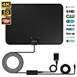 [Newest 2020] Digital TV Antenna Indoor, HD Antenna with Amplifier Signal Booster, up to 80-100 Miles Range by Attached 15ft Coax Cable/AC Adapter, Support 4K 1080P FM/VHF/UHF Channels