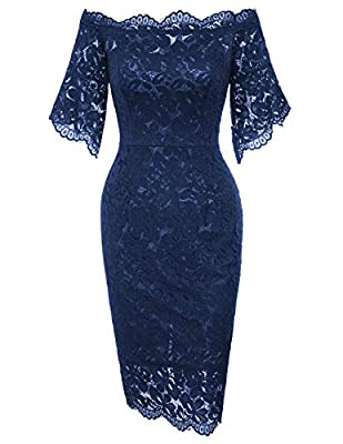 Feature: Off Shoulder, short sleeve,floral lace pattern,back zipper closure Style:Full Lace Overlay, Fashion, Retro Elegant, Chic, Classic, Sophisticated Occasion: Suit for Casual,Evening, Cocktail, Wedding, Homecoming,Party and Formal Occasion Garme...