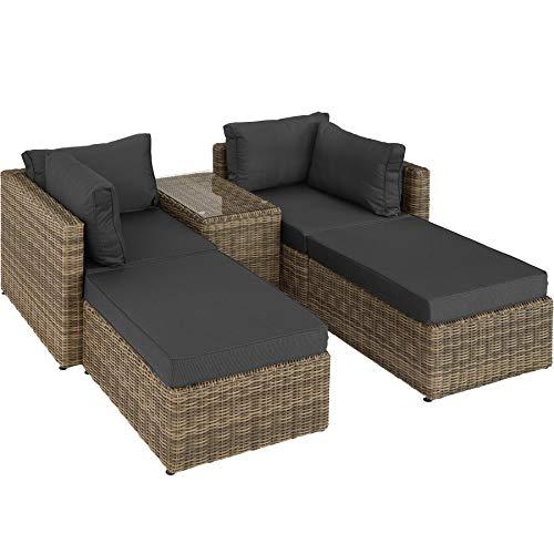 TecTake 800694 Aluminium Polyrattan Multifunktions Loungegruppe Gartensofa mit Tisch, für Garten oder Terrasse, vielseitig kombinierbar, inkl. Polster - Diverse Farben (Natur   Nr. 403168)