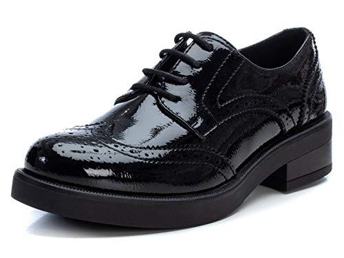 XTI - Zapato Oxford para Mujer - Cierre con Cordones - Negro - 39 EU