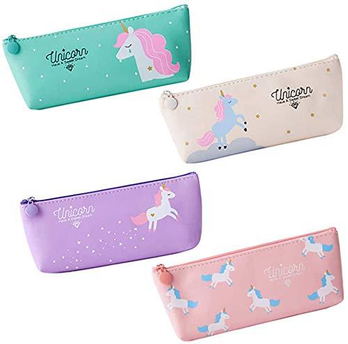 Astuccio - WENTS 4 Pcs Unicorno Astucci Set Penne per Unicorno Ragazze Regalo di Compleanno per Bambine Simpatiche penne per unicorno Set