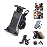 Exercise Bike Phone and Tablet Holder Motorcycle Gym Exercise Bike Treadmill Handlebar - Flexible Cradle Phone Mount for Smartphone and Tablet (4.2-12IN)