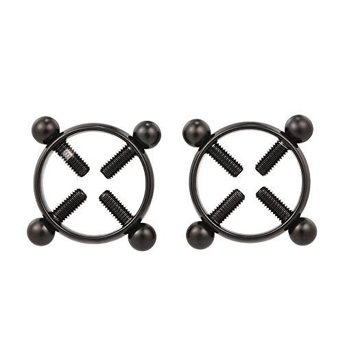 zroven 1 Paar Nicht Piercing Einstellbare Nippel Ringe für Frauen Kreis Nippelklemmen Edelstahl Körper Dekor mit Schrauben