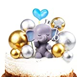 Vodolo Blue Elephant Cake Topper - Cute Resin Baby Elephant & Gold Silver Pearl Balls Cake Pick for It's A Boy Baby Shower Kids Birthday Party Supplies