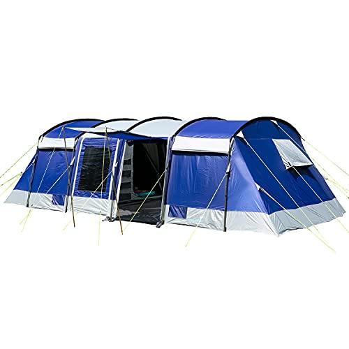 skandika Montana Sleeper - Tente familiale Tunnel - Cabines de Couchage Sombres pour Plus de Repos - Version 8 ou 10 pers. (Montana 10 Sleeper)
