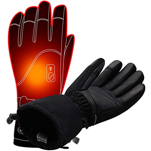 Autocastle Men Women Electric Heated GlovesTouchscreen Heating Gloves with 2200mAh Li-Po Battery,Heat Insulated Thermal Gloves for Climbing Hiking Skiing,3 Heat,Hand Warmer,Black (XL)