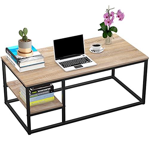 Table Basse avec étagère, Table Basse Moderne, Table de Salon avec Fonction de Rangement, Table rectangulaire 102 × 50 × 40 cm avec Structure en métal (Bois)