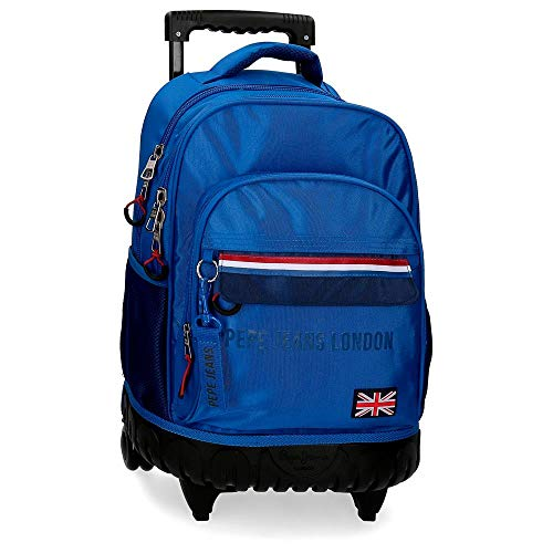 Pepe Jeans Overlap Sac à dos/Trolley compact 2 roues Bleu 33x44x21 cms...