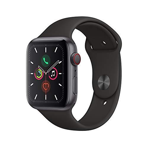Apple Watch Series 5 (GPS+Cellular, 44 mm) Aluminiumgehäuse Space Grau - Sportarmband Schwarz