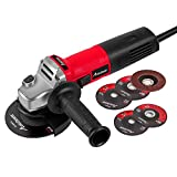 Angle Grinder 7.5-Amp 4-1/2 inch with 2 Grinding Wheels, 2 Cutting Wheels, Flap Disc and Auxiliary Handle AVID POWER (Red)